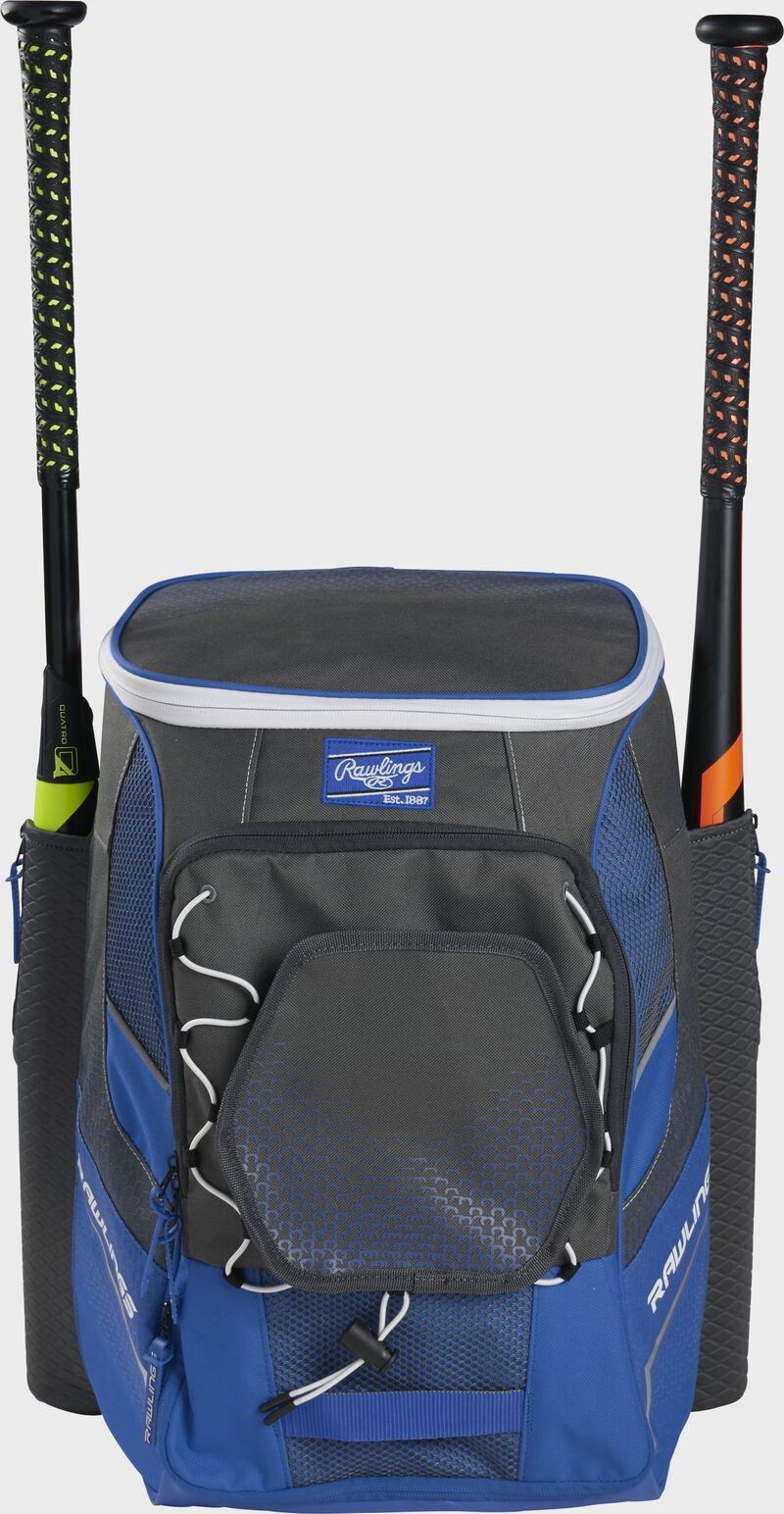 Front of a royal Rawlings Impulse bag with a royal Rawlings patch and two bats in the sides - SKU: IMPLSE-R