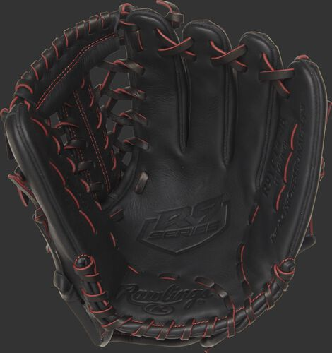 R9YPT4-4B 11.5-inch Rawlings R9 youth baseball glove with a black palm and black/scarlet laces