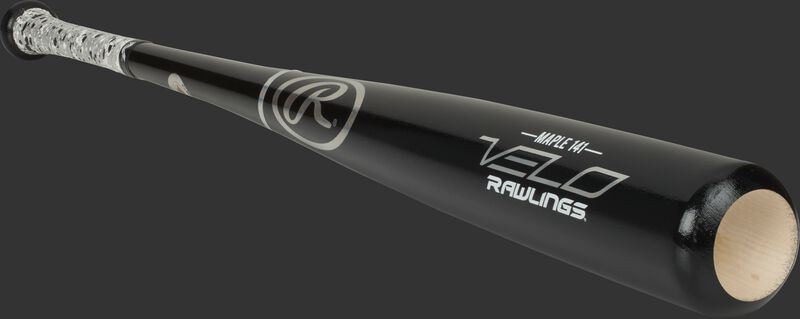 3/4 view of a 141RMV Rawlings Velo wood bat with a black barrel