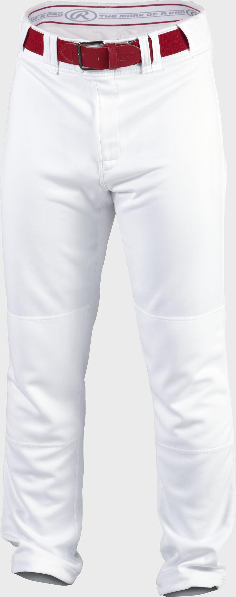 Front of Rawlings White Adult Premium Straight Baseball Pant - SKU #PPU140