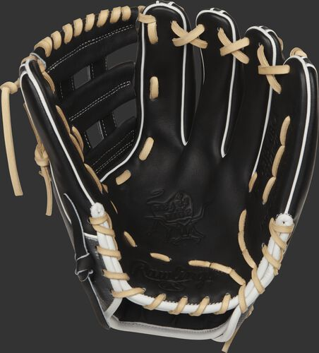 PRO314-6BCF 11.75-inch Heart of the Hide Hyper Shell infield glove with a black palm and camel laces