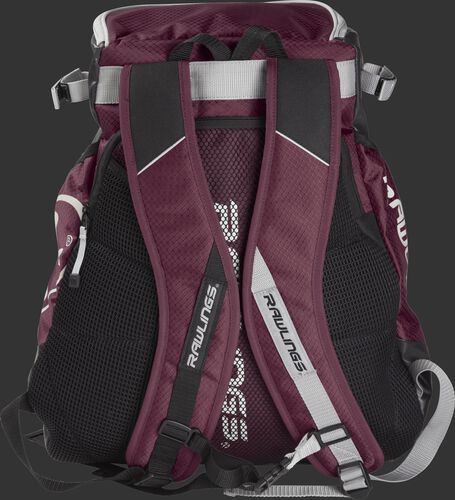 Back of a maroon VELOBK Rawlings Velo backpack with maroon shoulder straps