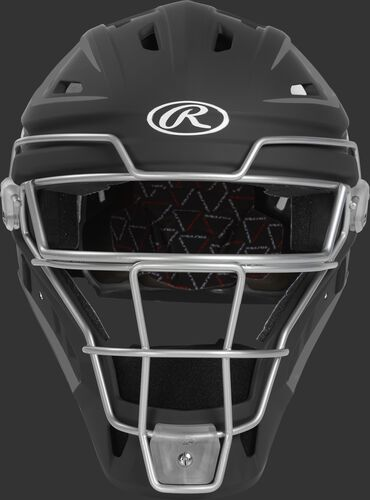Front of a black CHV27J Velo 2.0 hockey-style catcher's helmet