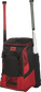 Front left of a scarlet/black R600 Rawlings players equipment backpack with two bats image number null