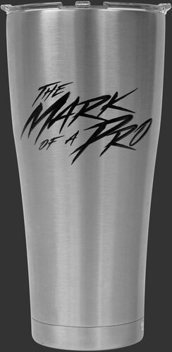 Back of Rawlings Stainless Steel 30oz Tervis Tumber With The Mark of A Pro In Black Text SKU #1307069