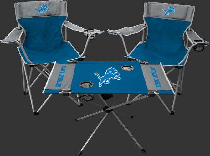 Front of Rawlings Blue and Greay NFL Detroit Lions 3-Piece Tailgate Kit With Two Kickoff Chairs, An Endzone Table, And A Transport Bag With Team Logo SKU #01041067511