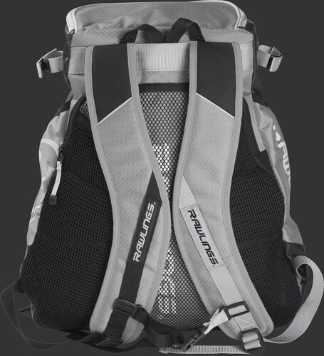 Back of a gray VELOBK Rawlings Velo backpack with gray shoulder straps