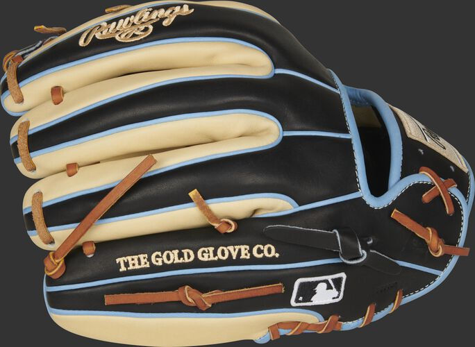 Black/camel fingers of a Rawlings HOH infield glove with the MLB logo on the pinkie - SKU: PRO315-2CBC