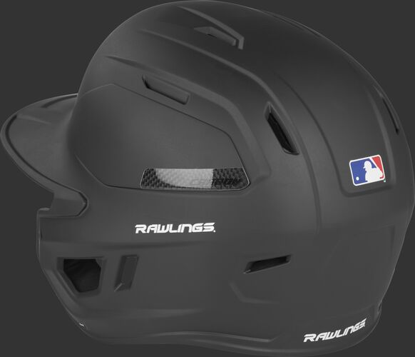 Back angle view of a CAR07A Rawlings adult high performance baseball helmet with a matte black shell