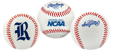 3 views of a NCAA Rice Owls baseball with a team logo, NCAA logo and Rawlings logo