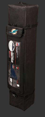 Black carry case of a 9x9 Miami Dolphins canopy with a team logo on the side compartment - SKU: 03231074113