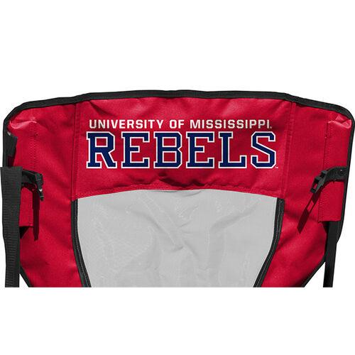 Back of Rawlings Red and Blue NCAA Ole Miss Rebels High Back Chair With Team Name SKU #09403087518