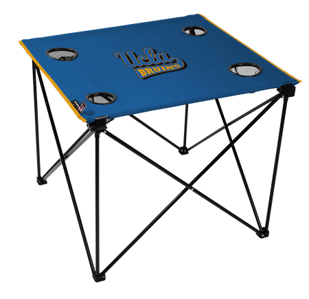 A blue NCAA UCLA Bruins deluxe tailgate table with four cup holders and team logo printed in the middle