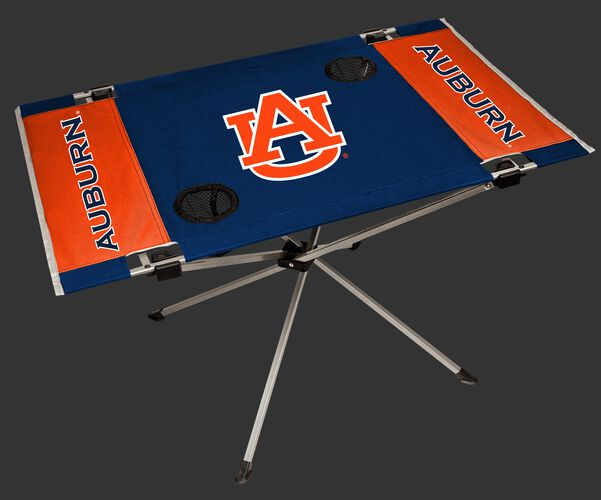 A navy/orange NCAA Auburn Tigers endzone table with two cup holders and team logo printed in the middle SKU #04053003111