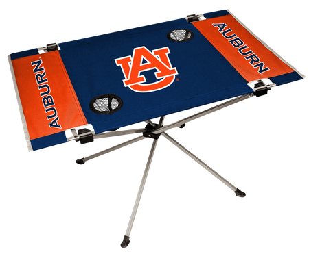 A navy/orange NCAA Auburn Tigers endzone table with two cup holders and team logo printed in the middle
