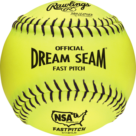 "C11BYLN Dream Seam NSA Official 11"" Softballs with a yellow Pro Leather cover and black stitching"