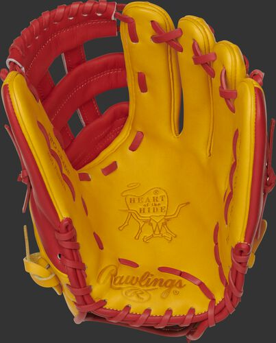 PRO206-6GTS Rawlings Heart of the Hide infield glove with a gold tan palm, scarlet web and scarlet laces