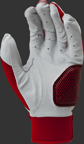 White palm of a scarlet WH950BG-S Workhorse batting glove