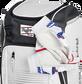Wallet, keys, and batting gloves in the front valuables pocket of a white Franchise baseball bag - SKU: FRANBP-W image number null