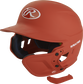 A matte burnt orange MEXT attached to a Mach batting helmet showing the hardware image number null