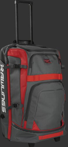 A grey and scarlet R1801 catcher's wheeled backpack with the pull handle extended