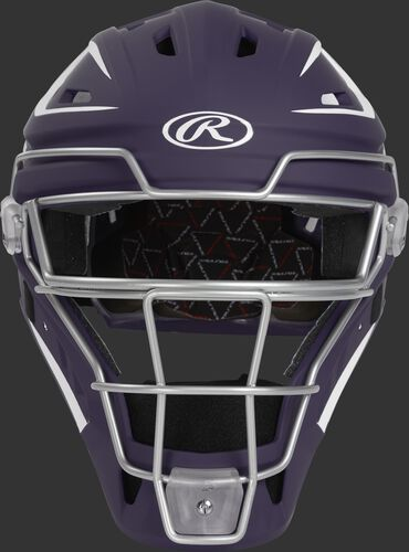 Front of a purple CHV27J Velo 2.0 hockey-style catcher's helmet