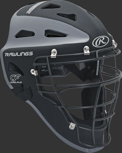 Front right of a black/graphite CHVEL Rawlings Velo adult catcher's helmet