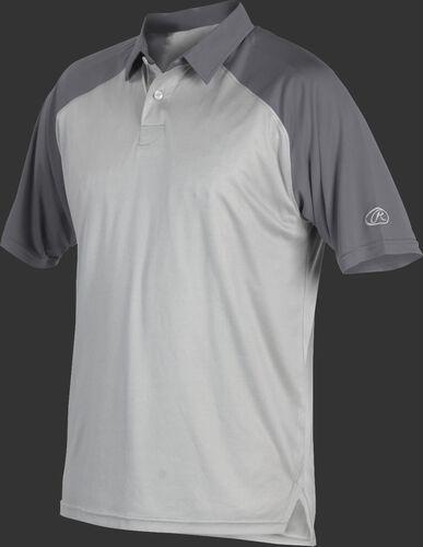 A gray Rawlings colorsync polo with dark gray sleeves - SKU: CSP-BG/GR