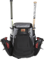 Front of a black/gray R1000 Gold Glove Equipment bag with two cleats and two bats in the side compartments image number null