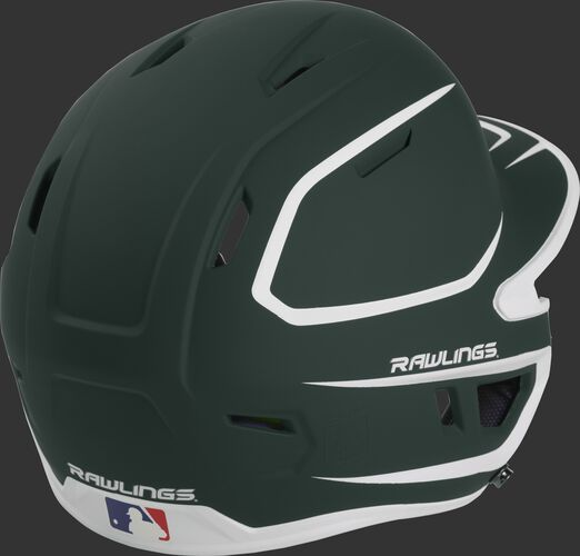 Back right of a two-tone matte dark green/white MACH Rawlings Junior size batting helmet