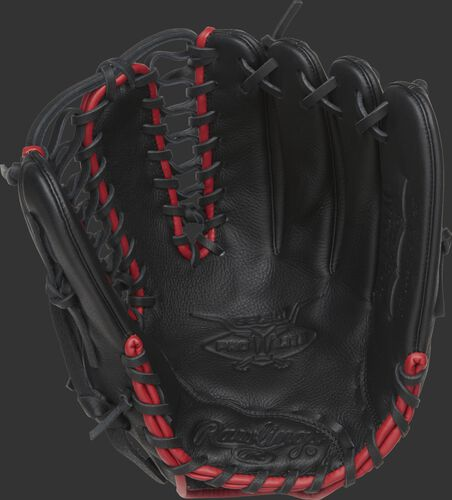SPL1225MT Rawlings Mike Trout youth baseball glove with a black palm, black laces and scarlet binding