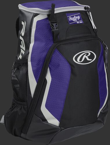Right side of a black/purple R500 Rawlings Players equipment backpack with white trim