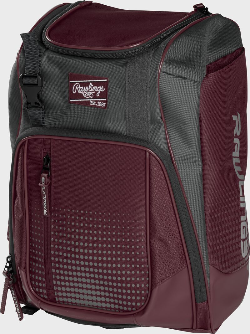 Front angle of a maroon Franchise backpack with gray accents and maroon Rawlings patch logo - SKU: FRANBP-MA