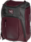 Front angle of a maroon Franchise backpack with gray accents and maroon Rawlings patch logo - SKU: FRANBP-MA image number null