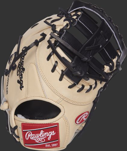 PROSDCTC 13-inch Rawlings Pro Preferred first base mitt with a camel kip leather back