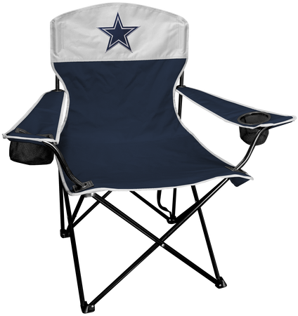 Front of Rawlings Navy and Silver NFL Dallas Cowboys Lineman Chair With Team Logo SKU #31021065111