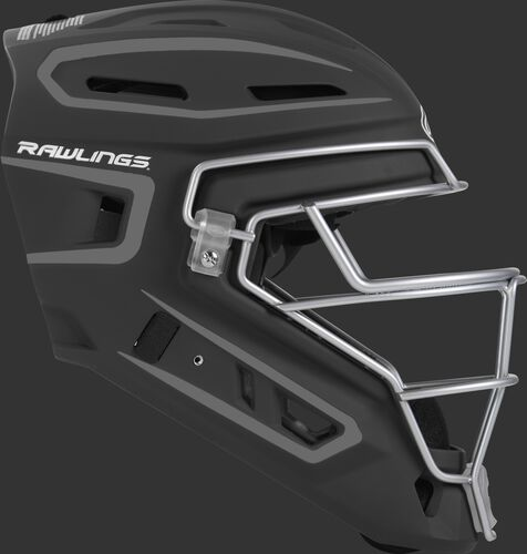 Right side of a black CHV27J Velo 2.0 youth size catcher's helmet