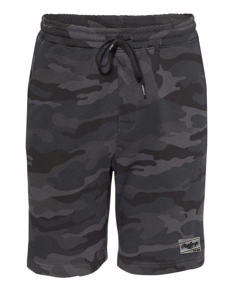 Black camo Rawlings men's fleece shorts - SKU: RSGFS-B/HC