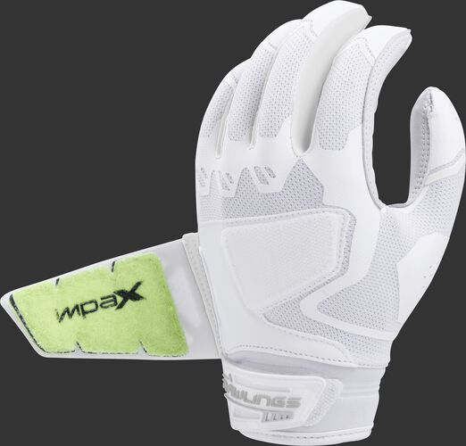 Back of a white FPWPBG-W Workhorse batting glove with the Impax pad