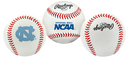 3 views of a NCAA North Carolina Tar Heels baseball with a team logo, NCAA logo and Rawlings logo