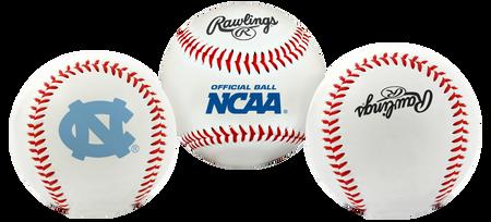 3 views of a NCAA North Carolina Tar Heels baseball with a team logo, NCAA logo and Rawlings logo
