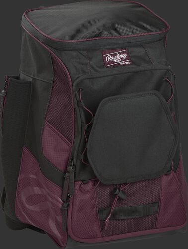 Front right of a maroon/black R600 Rawlings backpack without bats