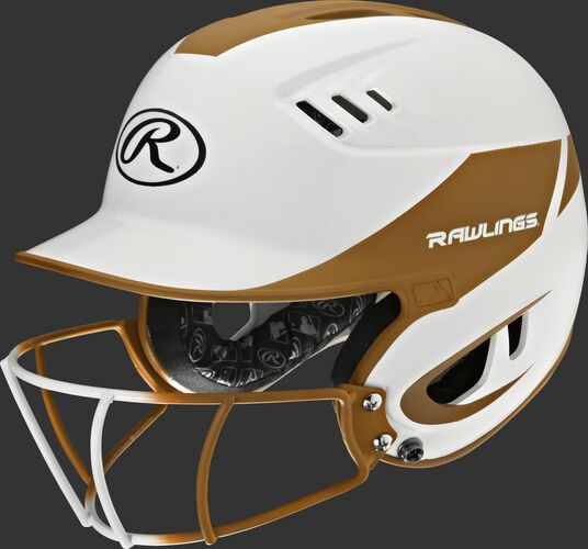 A white/orange R16H2FGS Velo junior batting helmet with a white/orange facemask