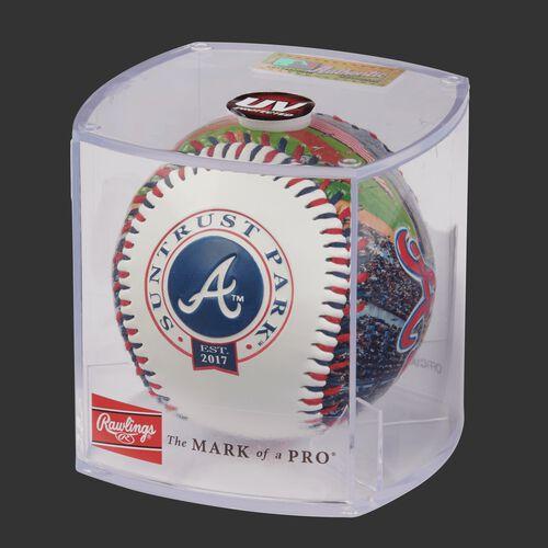 MLB Atlanta Braves stadium baseball in a display case