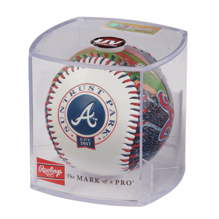 MLB Atlanta Braves stadium baseball in a display case