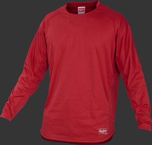 Front of Rawlings Scarlet Youth Long Sleeve Shirt - SKU #YUDFP3-B-88