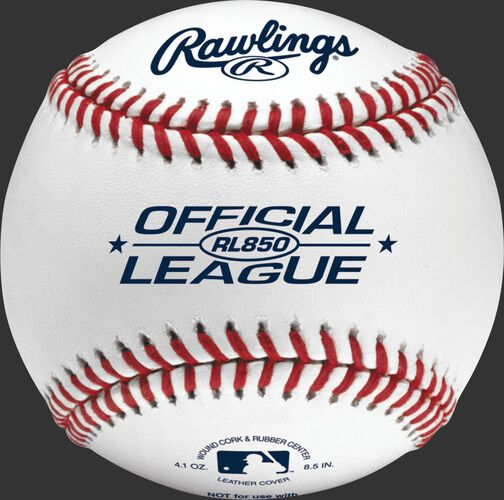 RL850 Official League 8.5-inch undersized practice baseball with raised seams