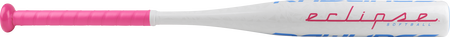 Barrel of a white FP8E12 2018 Eclipse softball bat with pink grip