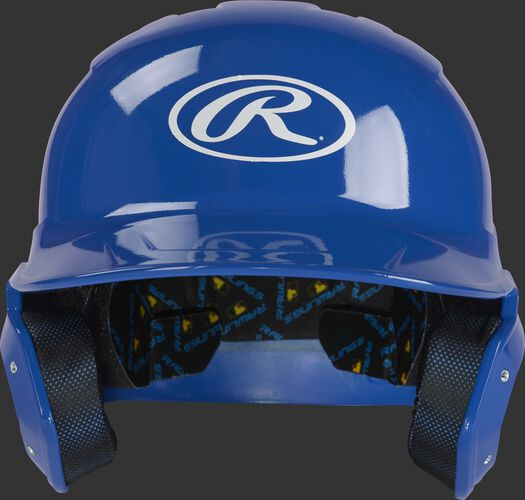 MCC01 Mach baseball batting helmet with a royal clear coat shell and Oval R logo on the front