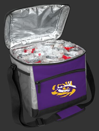An open LSU Tigers 24 can cooler filled with ice and drinks - SKU: 10223035111